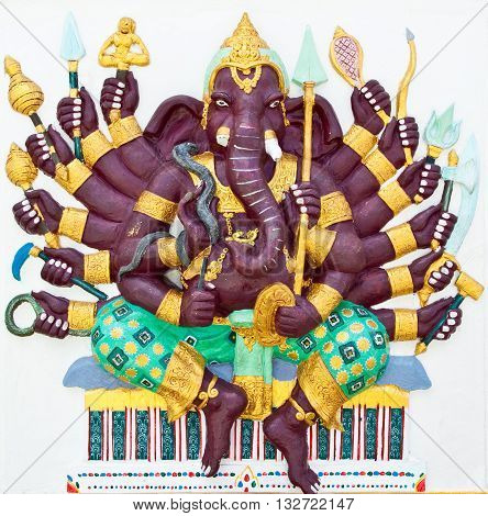Indian or Hindu God Named Vira Ganapati at Wat Saman Chachoengsao Thailand