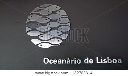 LISBON, PORTUGAL: JUNE 16, 2015: Logo on the facade of the Lisbon Oceanarium modern building, Portugal