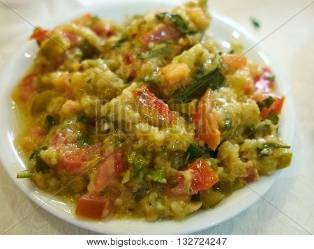 Eggplant Aubergine dip salad - Mediterranean Oriental Balkan meze food
