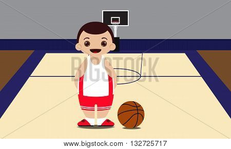 Basketball court basketball with player vector illustration