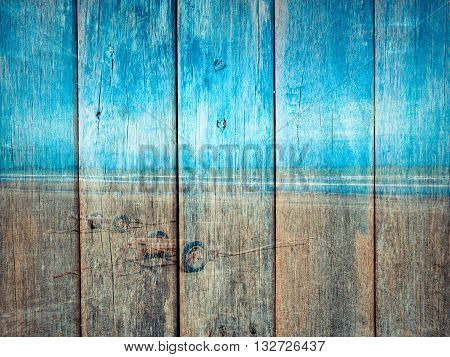 Bule Ocean And Sky On Wood Texture