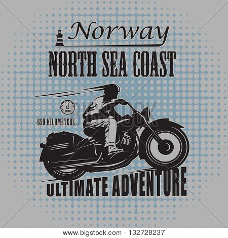 Vintage Motorcycle label  with text Ultimate Adventure, vector illustration
