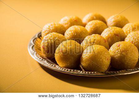indian sweets bundi laddu or motichur laddu, selective focus