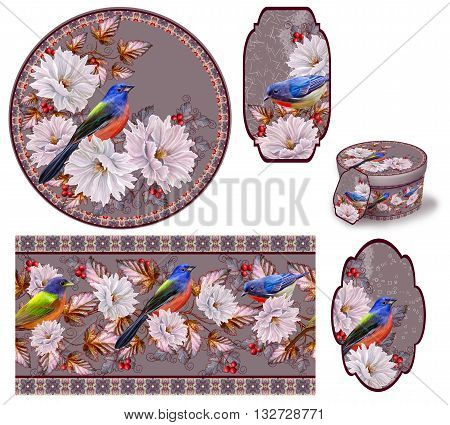 White vintage flowers blue bird foliage red berries. Set for packaging. Box round. Label.decoupage. Floral background. Flower border. Pattern. Mosaic.