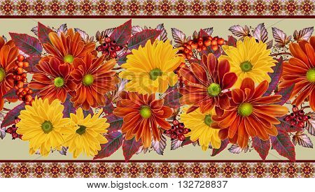 Horizontal floral border. Pattern seamless. Chrysanthemum flowers. The composition of orange and yellow chrysanthemums. Autumn colorful leaves.