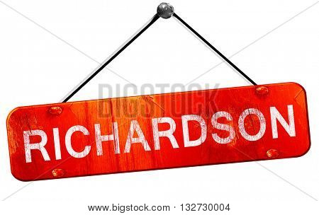 richardson, 3D rendering, a red hanging sign