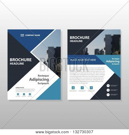 Blue black Triangle Vector annual report Leaflet Brochure Flyer template design book cover layout design abstract business presentation template a4 size design