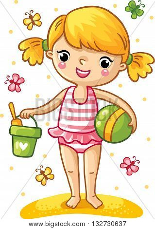 A cute little girl playing in the sand. Girl standing in a swimsuit with a bucket shovel and the ball and around fly the multicolored butterflies. Vector illustration of a summer theme.