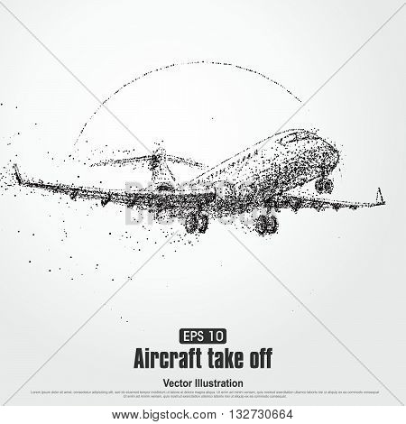 Aircraft take offparticle divergent composition vector illustration.