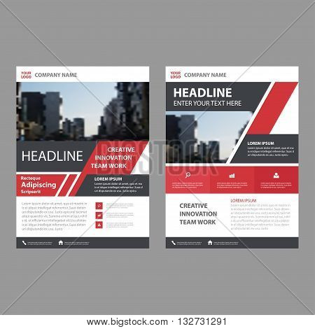 Red Black Vector annual report Leaflet Brochure Flyer template design book cover layout design abstract business presentation template a4 size design