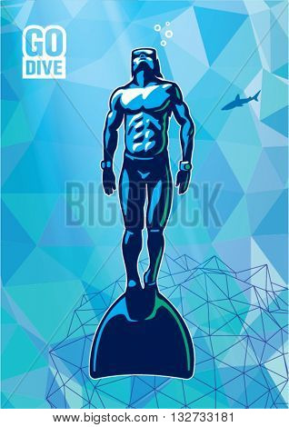 Freediver under water with monofin. Illustration in the sport logo style