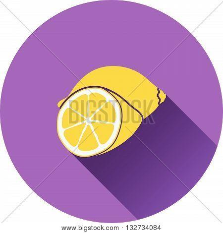 Lemon icon. Flat design ui colors. Vector illustration.