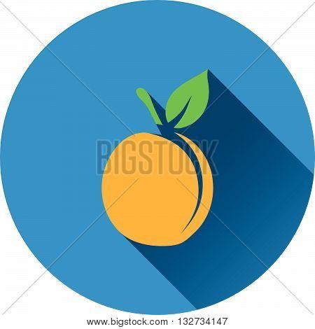 Peach icon. Flat design ui colors. Vector illustration.
