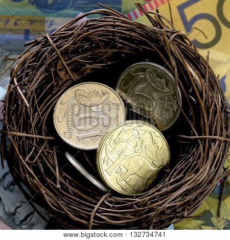 Some Australian coins in a bird's nest with a background of notes.