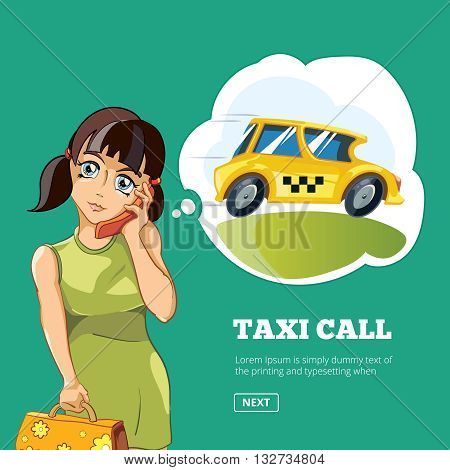 Vector illustration of Yong woman calling a taxi. Cartoon concept design for web, site, advertising, banner, poster, board and print. Picture with place for your text