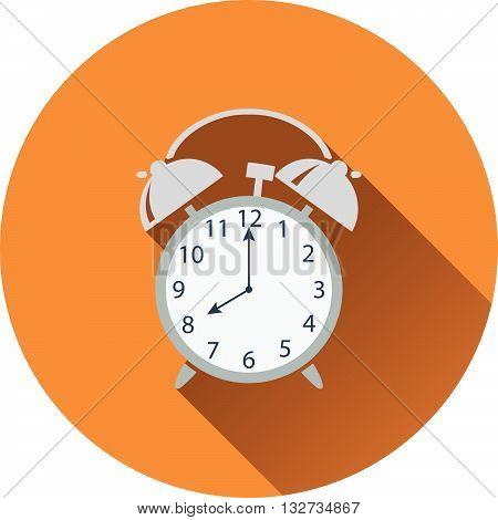 Flat Design Icon Of Alarm Clock In Ui Colors