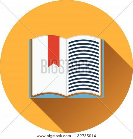 Flat Design Icon Of Open Book With Bookmark In Ui Colors
