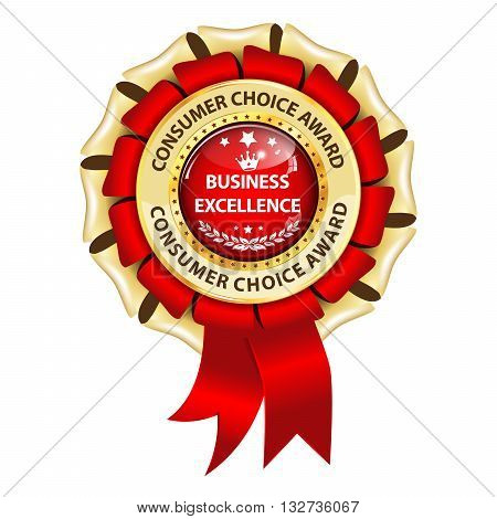 Business excellence. Customer Choice award - golden red ribbon