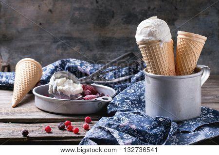 Ice Cream In Wafer Cones