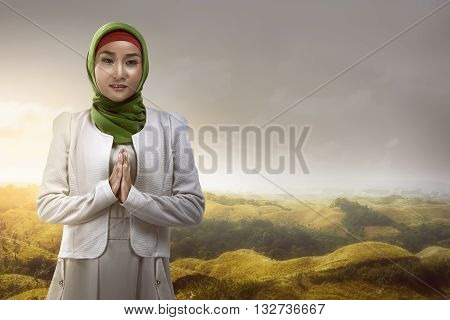 Asian Muslim Woman Smiling