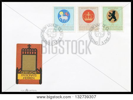 LIECHTENSTEIN - CIRCA 1970 : First day cover letter printed by Liechtenstein, that shows Coat of arms.