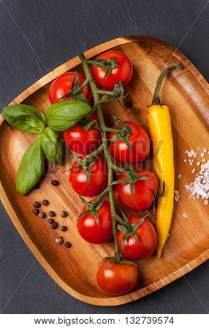 Tomatoes, Pepper And Basil