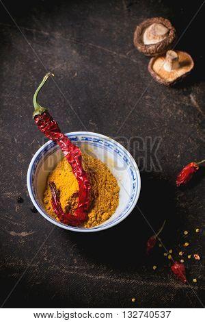 Tumeric Powder And Red Hot Chili Pepper