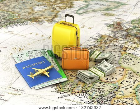 concept of travel passport tickets money plane and luggage shown on the world map. 3d illustrations