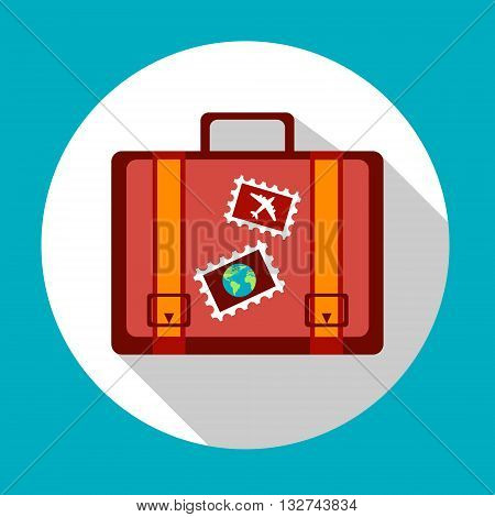 Suitcase Icon Logo Stickers Summer Trip Vacation Luggage Concept Flat Vector Illustration