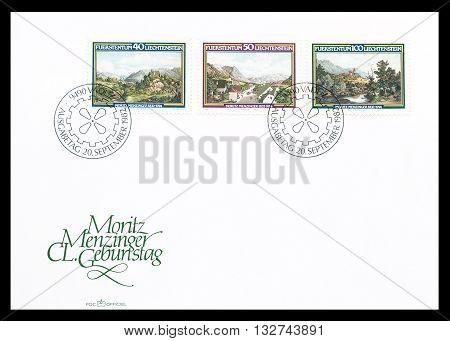 LIECHTENSTEIN - CIRCA 1982 : First day cover letter printed by Liechtenstein, that shows  Landscapes.