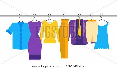 Clothes Official Business Collection Show Room Shop Flat Vector Illustration