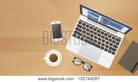 Workplace Desk Laptop Computer Cell Smart Phone Coffee Top Angle View Copy Space Flat Vector Illustration