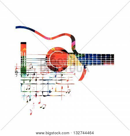 Vector illustration of colorful guitar with music notes