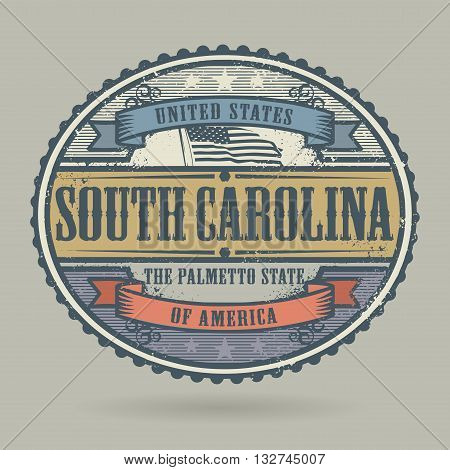 Vintage stamp or label with the text United States of America, South Carolina, vector illustration
