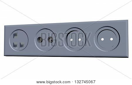 Vector illustration of various types of electrical outlets. Isolated.