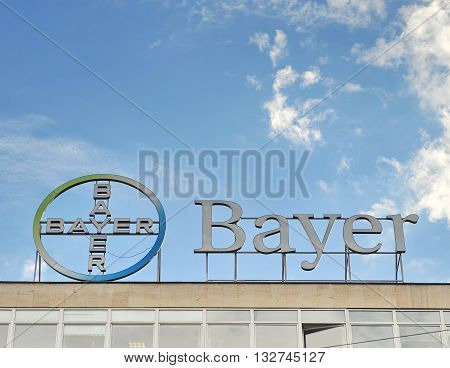 SOFIA BULGARIA - MAY 5: Logotype of Bayer commpany in Sofia on May 5 2016. Bayer is a German chemical company founded in Barmen.