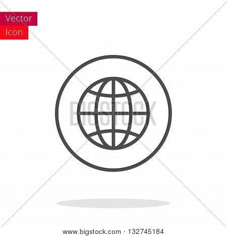 The Earth Globe Thin Line Icon. Earth Icon in circle. Vector Earth Icon. Round Earth Icon. Earth Icon On white background. Earth Icon Illustration.