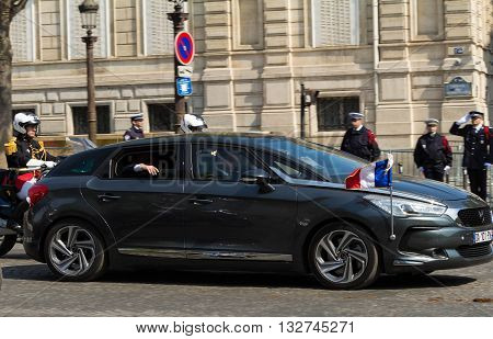 Paris France-May 08; 2016 : The limousine of French President on Champs Elysees avenue in Paris during commemoration of Victory day in World War II.