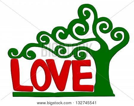 Vector illustration inscription love and wood encircles it. Isolated.