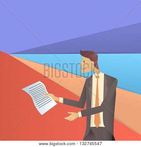 Business Man Hold Paper Documents, Sign Up, Contract Agreement Concept Flat Vector Illustration