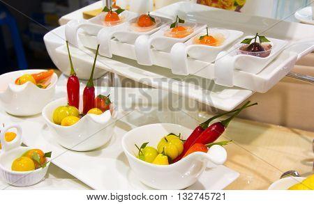 Thai desser deletable imitation fruits (Kanom Look Choup)