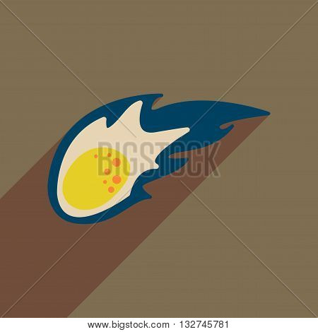 Flat web icon with long  shadow comet