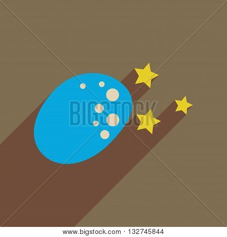 Flat web icon with long  shadow meteorite stars
