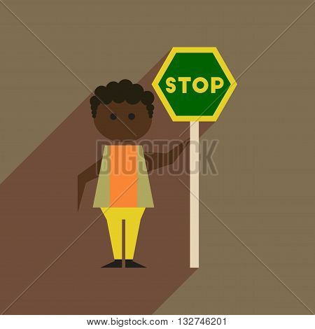 Flat web icon with long  shadow stop racism