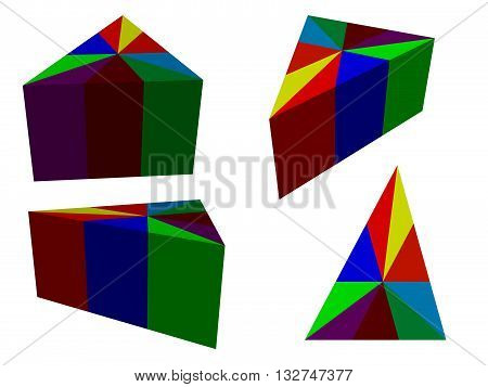 Vector illustration infographic as prisms. Isolated. 3D.