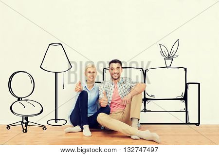 people, repair, moving in, interior and real estate concept - happy couple sitting on floor and showing thumbs up at new home over furniture cartoon or sketch background