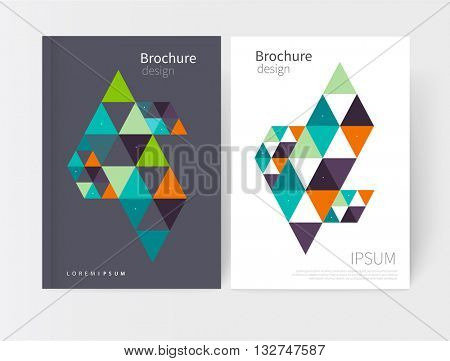 Creative design concept geometric element. Vector set abstract geometric background green, blue and orange triangles Modern White and grey business brochure cover template