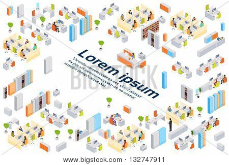 Modern Business Center Office Building Businesspeople Working Interior Copy Space 3d Isometric Vector Illustration