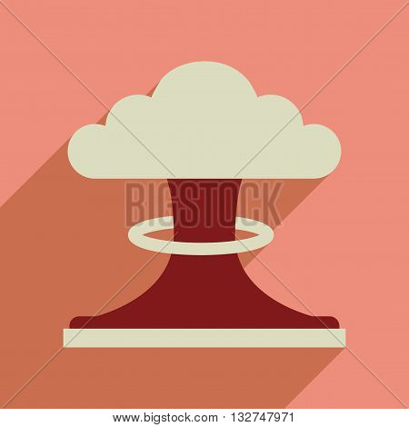 Flat web icon with long  shadow nuclear explosion