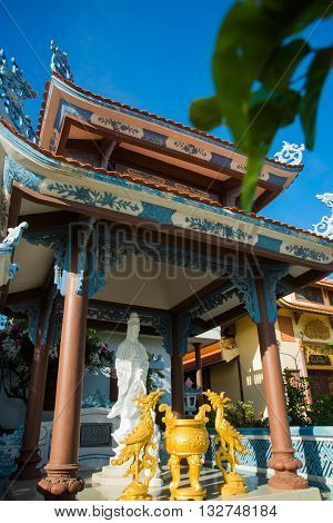 Beautiful Temple. Buddha Sculpture.oid Church, Under Sunny Sky.mui Ne, Vietnam.
